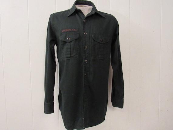 Vintage shirt, Boy scout shirt, green shirt, 1950s