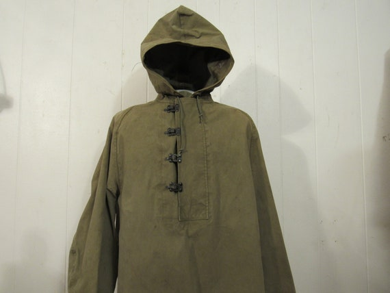 Vintage parka, 1940s hooded jacket, military jacke