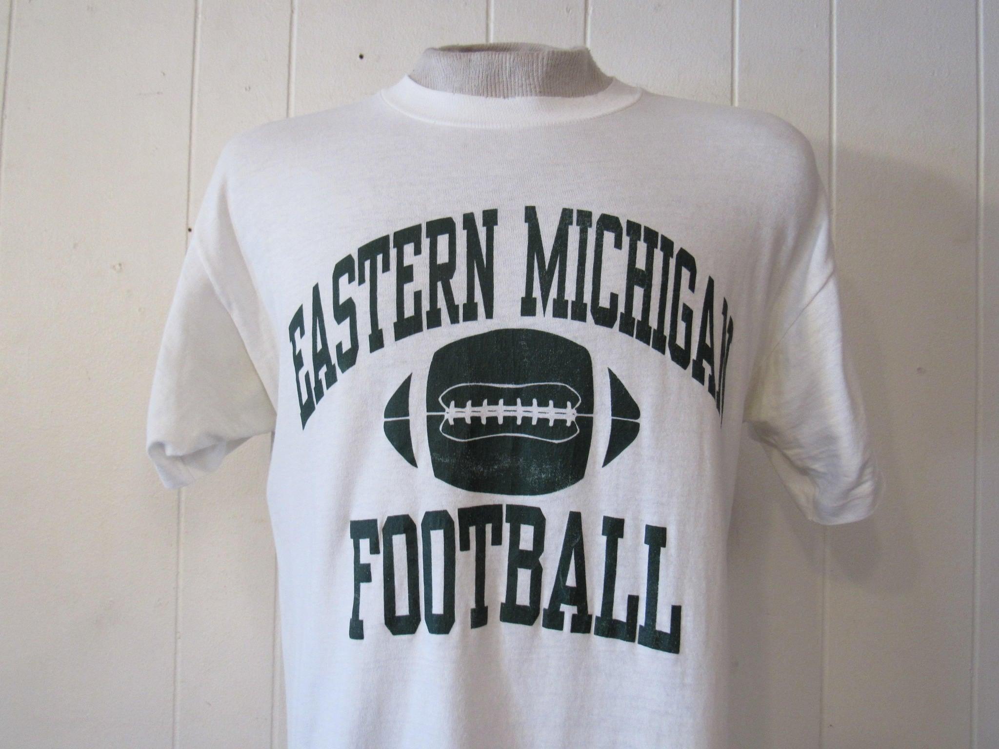 Vintage T Shirt Football T Shirt Eastern Michigan T Shirt Eastern Michigan Football Vintage Clothing Medium LongSleeve Tee