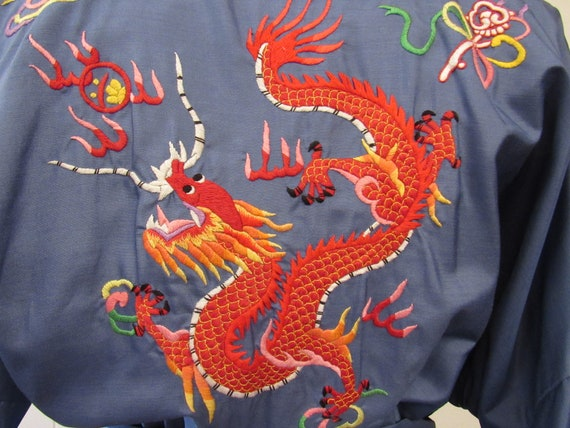 Vintage robe, Asian robe, silk robe, embroidered … - image 3