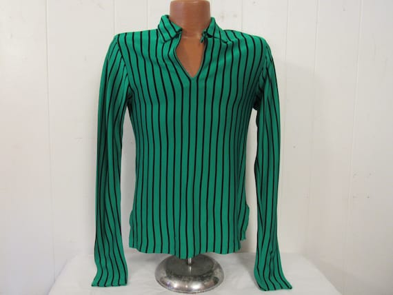 Vintage shirt, 1960s shirt, green shirt, striped s