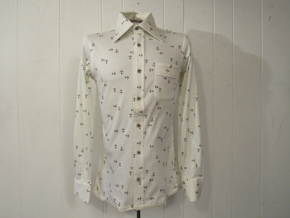 Vintage shirt, anchor shirt, 1970s shirt, retro sh