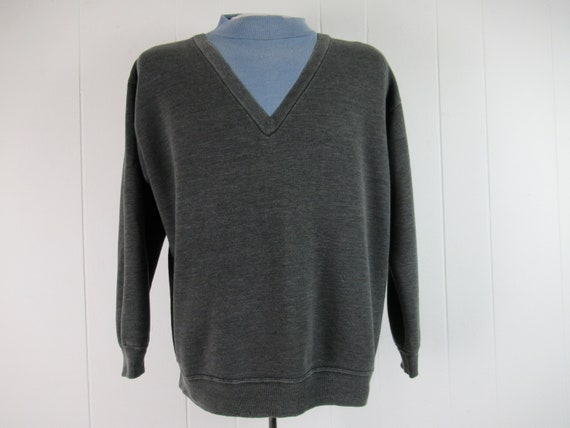 Vintage sweatshirt, 1960s sweatshirt, mock V neck,