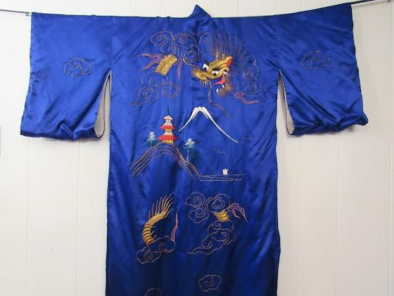 Vintage kimono, vintage robe, silk robe, dragon ki