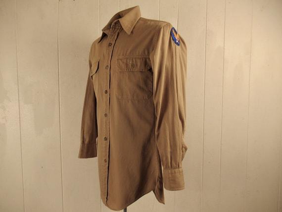 Vintage shirt, 1940s shirt, khaki shirt, military