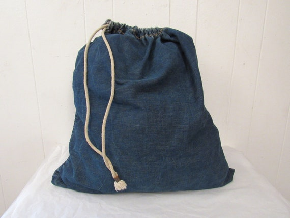 Vintage bag, denim bag, 1950s denim bag, duffle ba