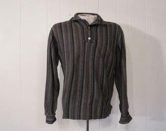 Vintage shirt, 1950s shirt, flannel shirt, striped shirt, rockabilly shirt, vintage clothing, medium
