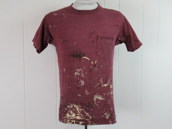 Vintage t shirt, painter's t shirt, pocket t shirt