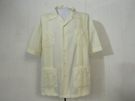Vintage shirt, Guayaberra shirt, 1970s shirt, vaca