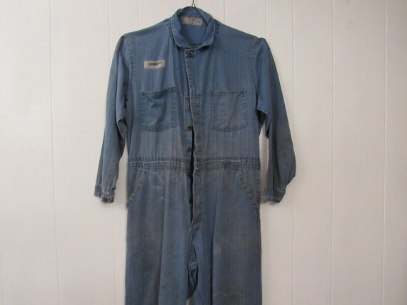 Vintage coveralls, vintage workwear, HBT coveralls