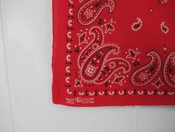 Vintage bandana, 1950s bandana, red bandana, paisl