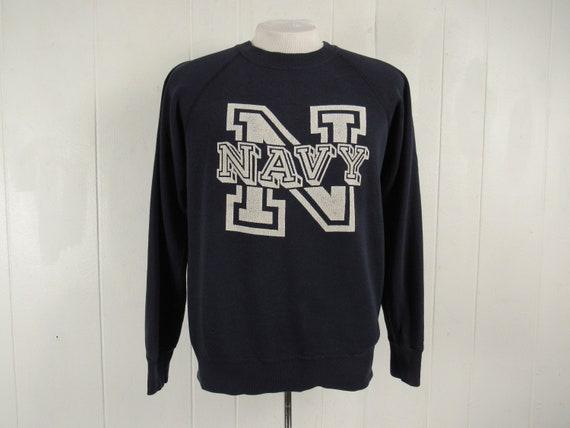 Vintage sweatshirt, 1970s sweatshirt, Navy sweatsh