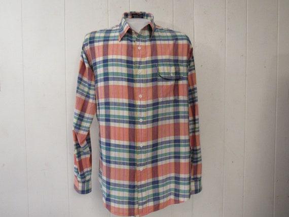 Vintage shirt, Madras shirt, Madras cotton plaid,