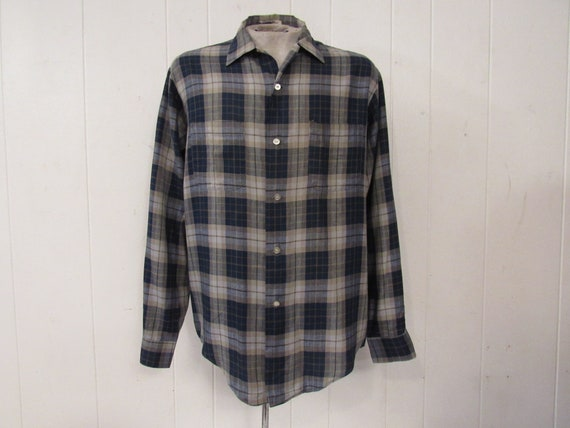 Vintage shirt, 1960s shirt, plaid shirt, Campus sh