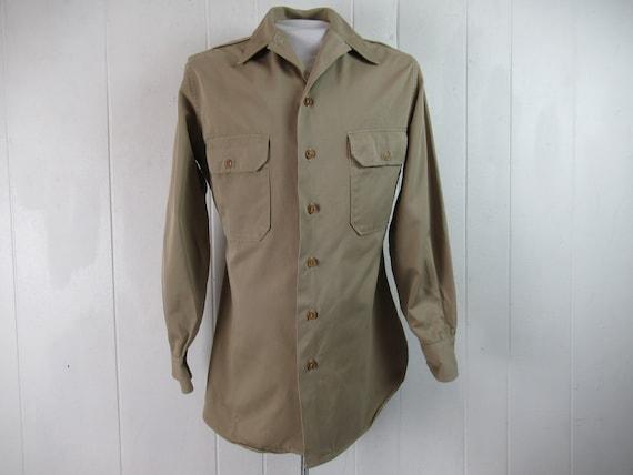 Vintage shirt, 1940s shirt, military shirt, WWII … - image 1