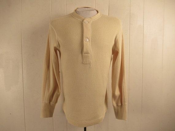 Vintage shirt, 1950s shirt, Henley shirt, military