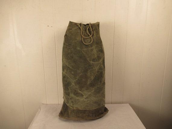 Vintage bag, 1940s bag, canvas bag, canvas duffel… - image 1