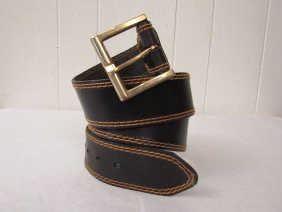 Vintage belt, 1970s belt, black leather belt, leat
