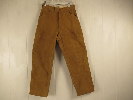 Vintage pants, size 29 x 27.5, brown duck pants, c