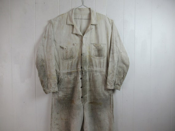 Vintage coveralls, vintage workwear, 1940s coveral