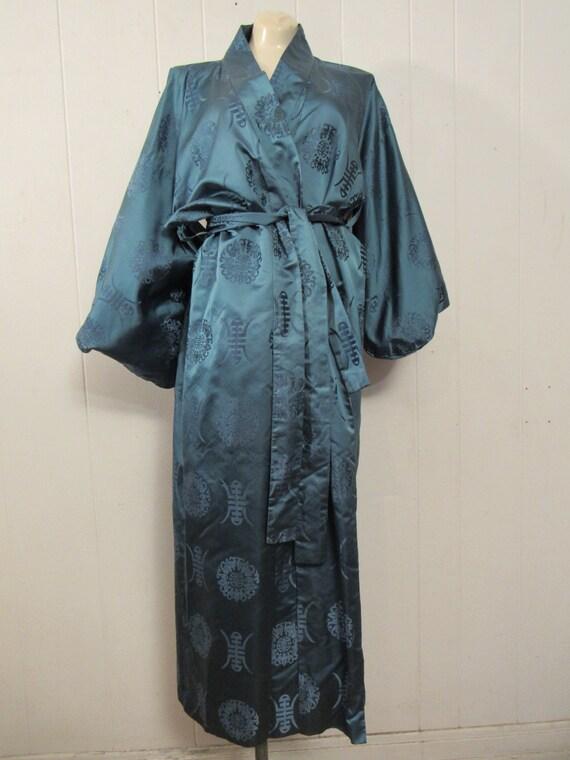 Vintage kimono, Asian jacket, 1950s robe, blue si… - image 3
