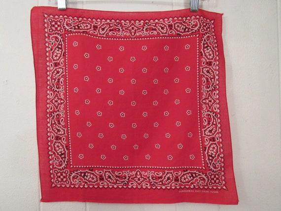 Vintage bandana, red bandana, 1940s 1950s bandana,
