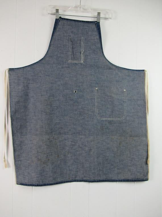 Vintage denim apron, 1940s apron, blue apron, vin… - image 5