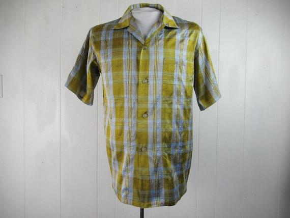 Vintage shirt, 1950s shirt, metallic shirt, silk s