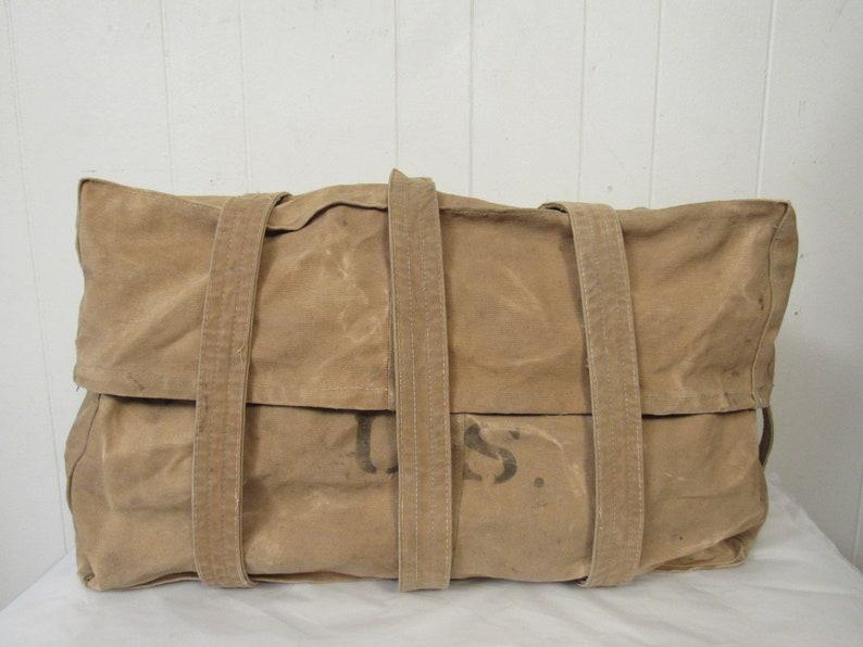 vintage luggage brass buckles Calvary pack large duffle Vintage bag canvas bag U.S 1900s bag military bag