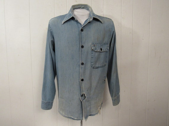 Vintage shirt, denim shirt, 1960s shirt, distresse