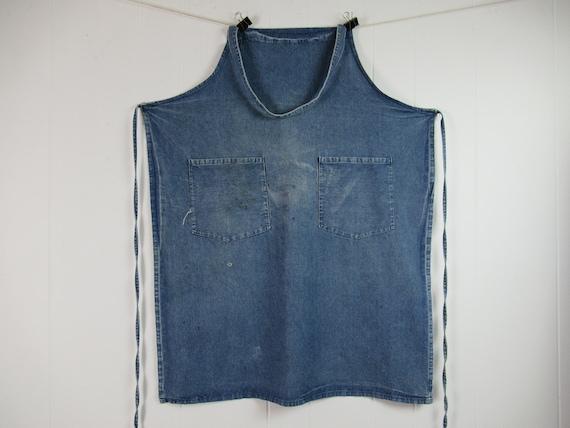 Vintage apron, denim apron, 1950s apron, vintage w
