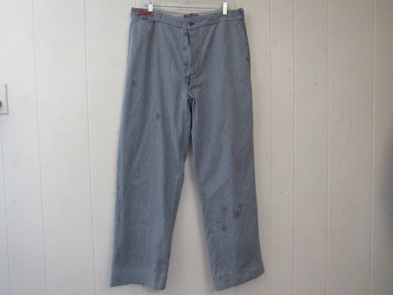 Vintage work pants, 1930s pants, striped denim pan