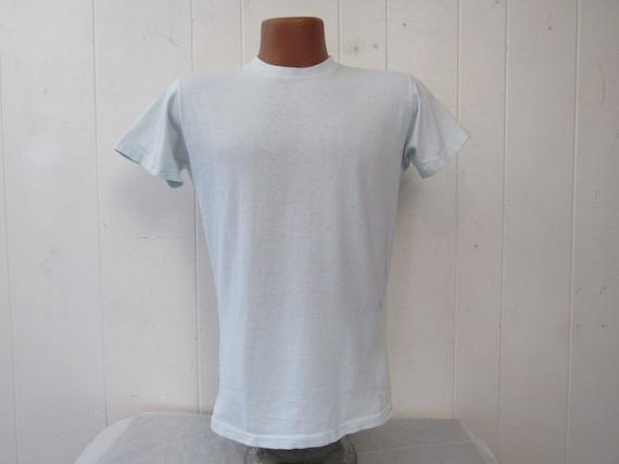 Vintage t shirt, 1960s t shirt, pale blue t shirt,