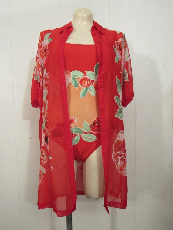 Vintage swimsuit, 1980s swimsuit, suit and top, 2… - image 2