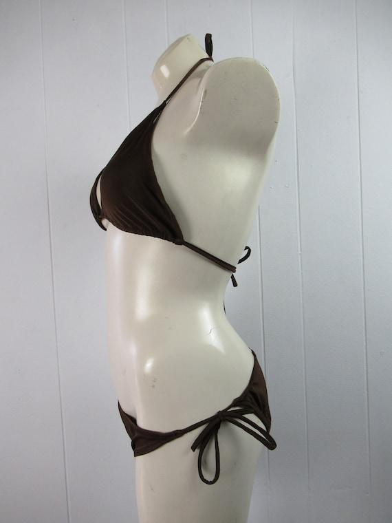 Vintage swimsuit, 1970s bikini, spaghetti strap b… - image 4