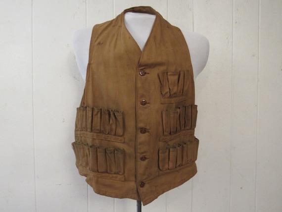 Vintage hunting vest, hunting vest, brown duck ves