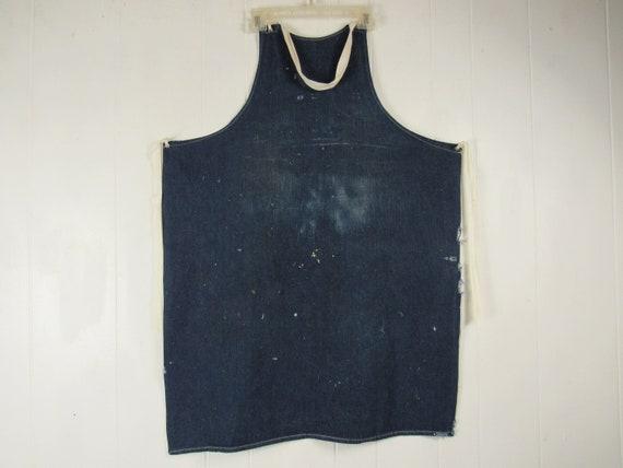 Vintage apron, 1940s denim apron, indigo denim, vi