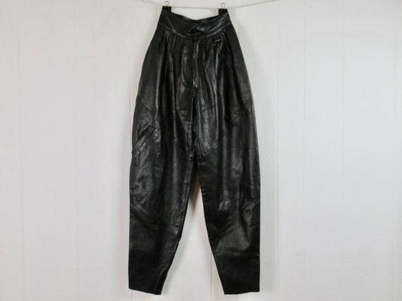 Vintage pants, leather pants, 1980s pants, high wa