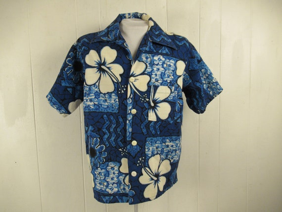 Vintage shirt, Hawaiian shirt, blue Hawaiian shirt