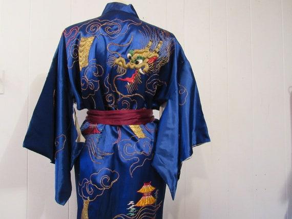 28ce06f031 Vintage kimono dragon kimono silk robe 1950s robe gold