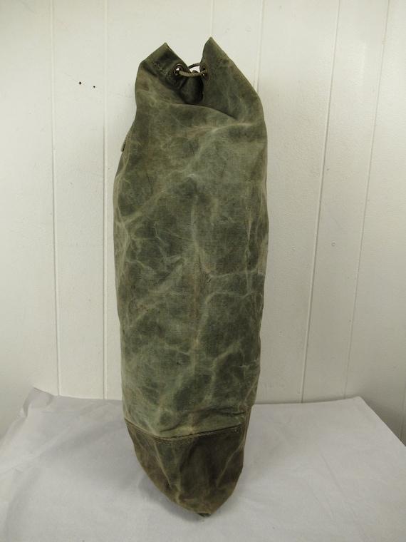 Vintage bag, 1940s bag, canvas bag, canvas duffel… - image 6