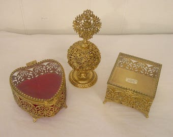 Vintage jewelry box, 1950s jewelry box, perfume bottle, 3 pieces, 24k gold plate filigree, vanity set