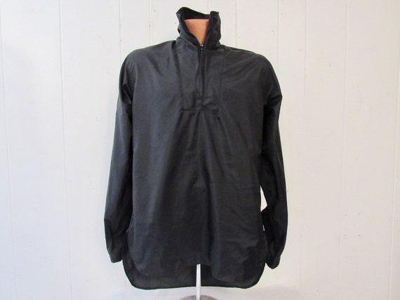 Vintage jacket, 1960s shirt jacket, black Nylon sh