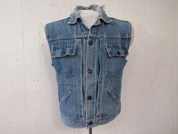 Vintage denim vest, 1960s denim jacket, pleated de