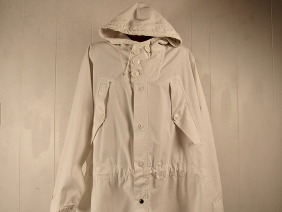 Vintage parka, 1940s jacket, white parka, hooded j