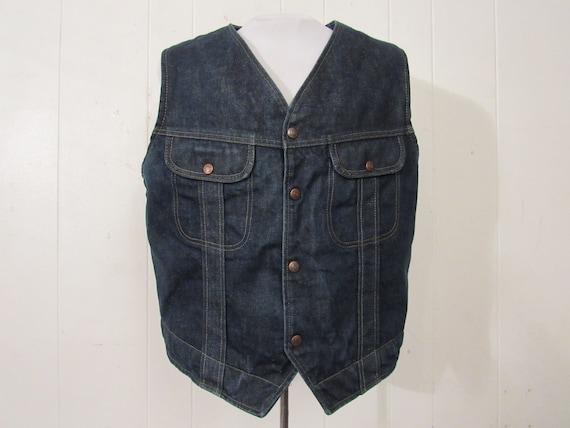 Vintage denim vest, vintage vest, cowboy western … - image 1