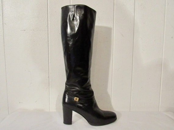 Vintage boots, black leather boots, 1970s boots, g