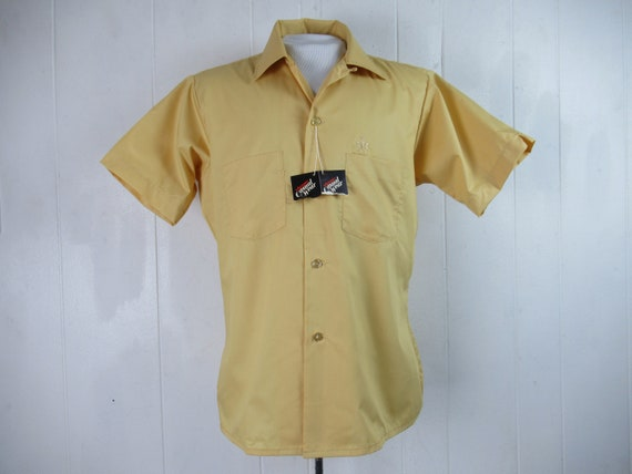 Vintage shirt, yellow shirt, 1960s shirt, top butt