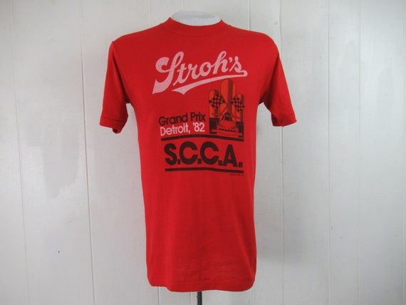 Vintage t shirt, Detroit t shirt, Stroh's beer t s