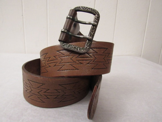 Vintage belt, leather belt, tan leather belt, 1960